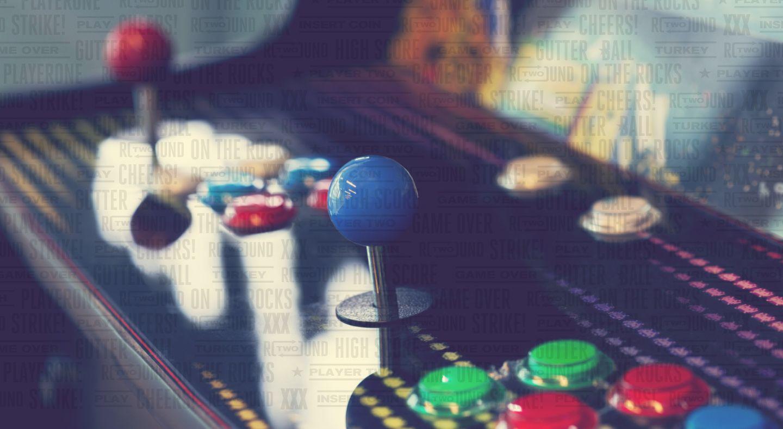 Close up an arcade console.